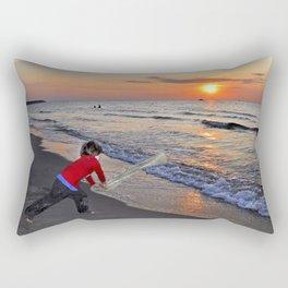 LITTLE DEVIL ON THE SUNSET BEACH Rectangular Pillow