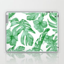 Tropical Island Leaves Green on White Laptop & iPad Skin