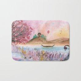 Watercolor Refuge Landscape Bath Mat