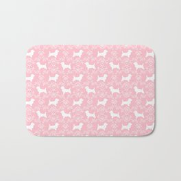 Cairn Terrier silhouette florals pink and white minimal dog breed basic dog pattern Bath Mat