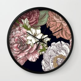 Large Vintage Floral Print on Black Wall Clock