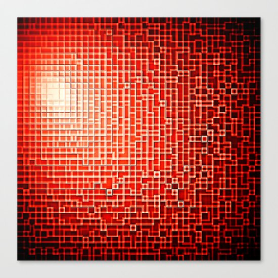 Red Space Pixels Canvas Print