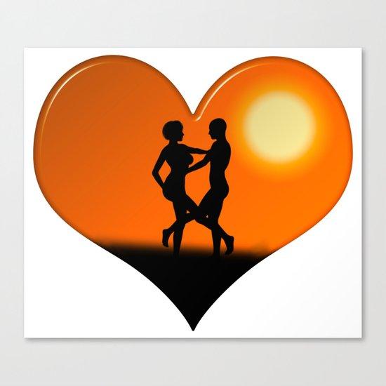 Sunset Dancing Couple Love Heart Canvas Print