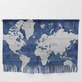 Dark blue watercolor and grey world map Wall Hanging