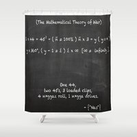 lebron Shower Curtains featuring The Mathematical Theory of war by SaintCastro
