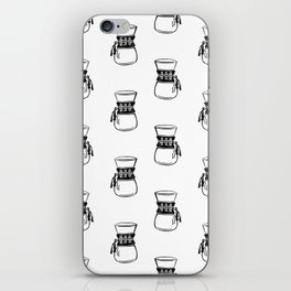 Chemex coffee maker black and white linocut minimal kitchen foodie pattern iPhone Skin