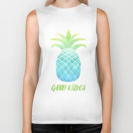 Good Vibes: Blue Pineapple Biker Tank