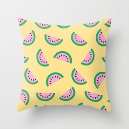 Dancing Watermelon Slices Throw Pillow