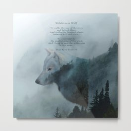 Wilderness Wolf & Poem Metal Print