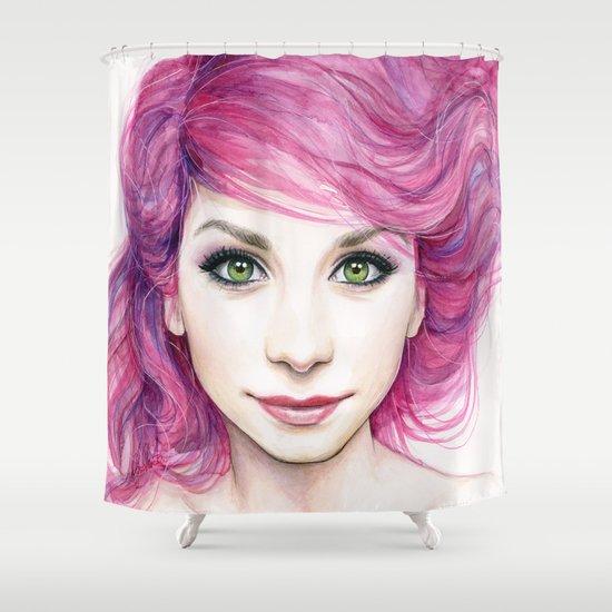 Pink Hair Girl Shower Curtain