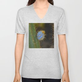 Colorful Cactus Close-Up In Bloom Unisex V-Neck