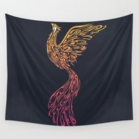 phoenix Wall Tapestries featuring Phoenix by Freeminds