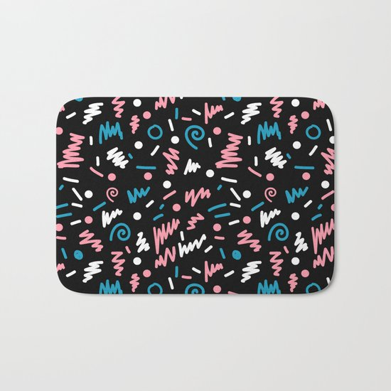 Abstract memphis pattern trendy modern pattern print black and blue Bath Mat