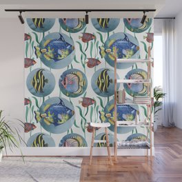 Watercolor seamless hand drawn pattern with tropical fish. Wall Mural