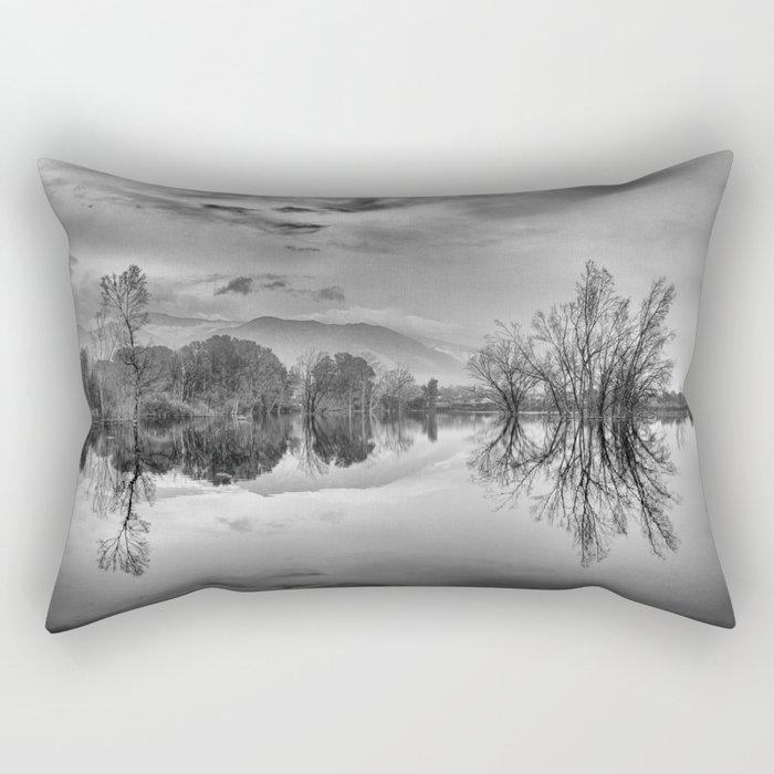"""""""Mammoth Paradise"""" Bw Rectangular Pillow"""