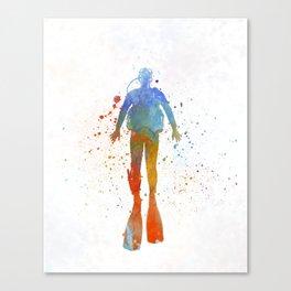 Man scuba diver 04 in watercolor Canvas Print