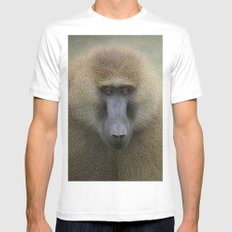 Guinea Baboon White MEDIUM Mens Fitted Tee