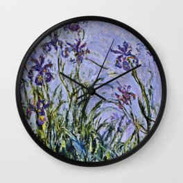 Claude Monet  -  Iris Mauves Wall Clock