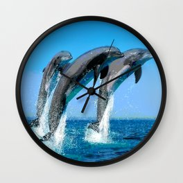 Leaping Dolphins in Crystal Water Spray Wall Clock