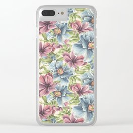 Hibiscus Vintage Pattern Clear iPhone Case