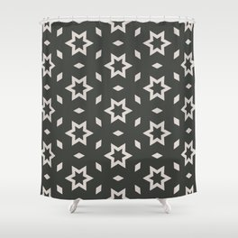 Black and white Stars Pattern Christmas Hollidays Shower Curtain