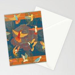 Hummingbirds in Orange Stationery Cards