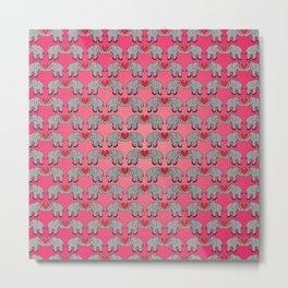 Elephant Heart Pink Metal Print
