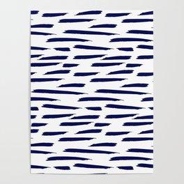 Paintbrush Stripes - Navy Blue on White Poster