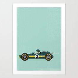 Green Retro Racing Car Art Print