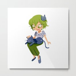 A girl and her cat :3 Metal Print