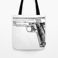 gun Tote Bags featuring GUN by Seth Beukes