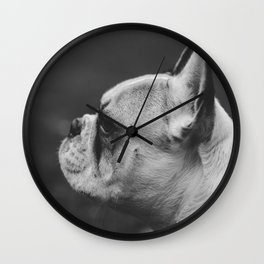 Wistful monochrome Frenchie Wall Clock