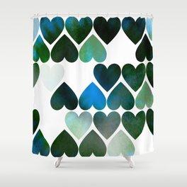 Mod Blue Hearts Shower Curtain