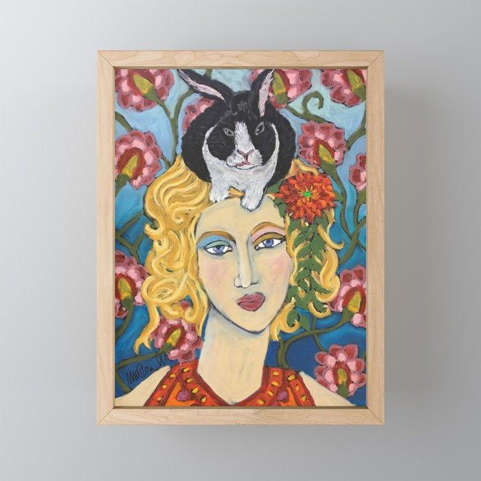 Woman with Bunny Framed Mini Art Print