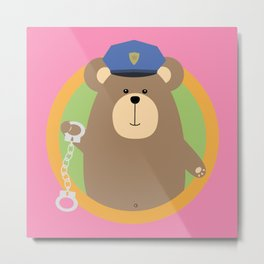 Officer Grizzly with Handcuffs in circle Metal Print
