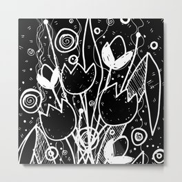 Scribble Doodle Flowers No.2B by Kathy Morton Stanion Metal Print