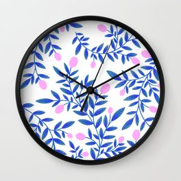 Citrus Summer Pattern - Pink & Blue  Wall Clock