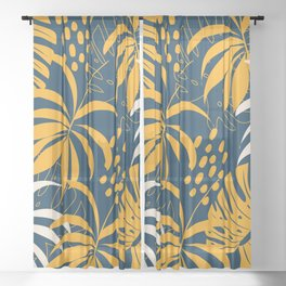 Blue & Yellow Leaf Pattern Sheer Curtain