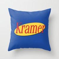 seinfeld Throw Pillows featuring Kramer  - Seinfeld by Uhm.