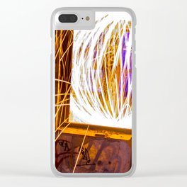 Graff Bomb - Light Painting in Abandoned Ruins Clear iPhone Case