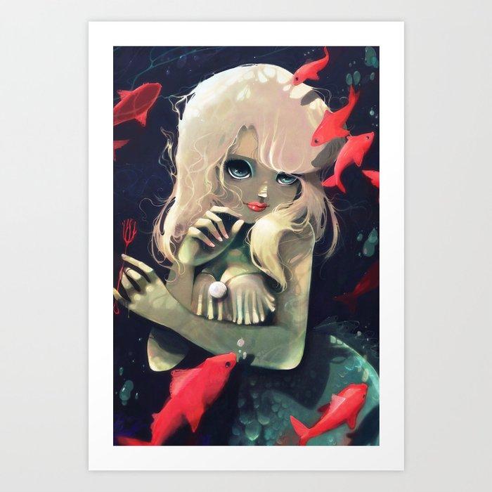 Sirene d'eau douce a la fourchette Art Print