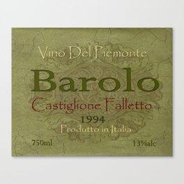 Vintage Wine Label Print (Barolo) Canvas Print