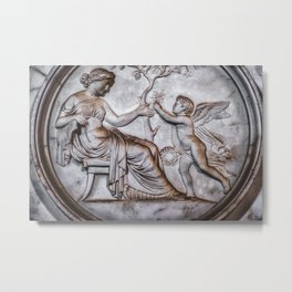 funerary art background cherub angel baby son offer gift flowers mother woman Metal Print