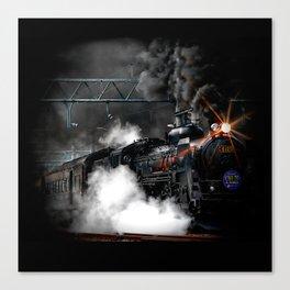 Vintage Steam Engine Black Locomotive Train Canvas Print