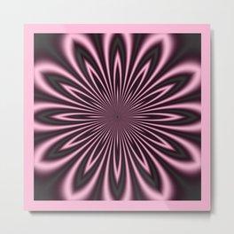 Pink and Black Flower Metal Print
