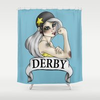 roller derby Shower Curtains featuring Roller Derby  by Hungry Designs
