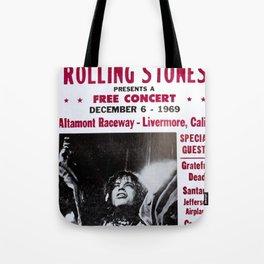 Vintage Rolling Stones free concert at Altamont Raceway, Livermore, California, December 6, 1969 Tote Bag