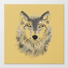 Wolf Face - Gold Canvas Print