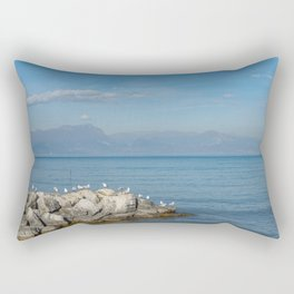 Seagulls on pebbles by the lake under a blue sky Rectangular Pillow