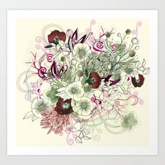 Zentangle Floral mix II Art Print